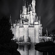 Cinderella's Castle Reflection Black And White Poster