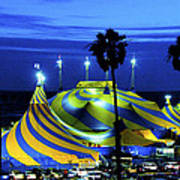 Circus Tent Swirls Of Blue Yellow Original Fine Art Photography Print  Poster