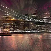 City-art Brooklyn Bridge Poster by Melanie Viola