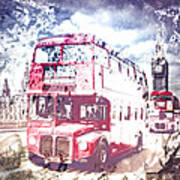 City-art London Red Buses On Westminster Bridge Poster