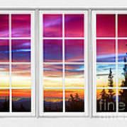 City Lights Sunrise View Through White Window Frame Poster