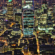 City Of London Skyline At Night Poster