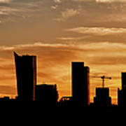 City Of Warsaw Skyline Silhouette Poster