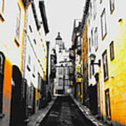 City Street Scene Black And Yellow Photograph Poster