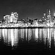 Cityscape In Black And White - Philadelphia Poster