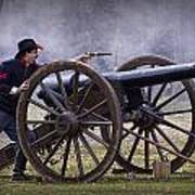 Civil War Reenactor Firing A Revolver Poster
