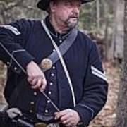 Civil War Union Soldier Reenactor Loading Musket Poster