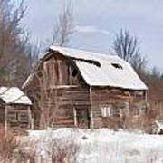 Classic Barn In Snow Poster