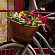 Classic Bicycle With Tulips Poster