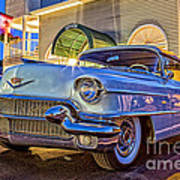 Classic Blue Caddy At Night Poster