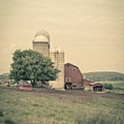 Classic Farm With Red Barn And Silos Poster
