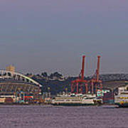 Classic Full Moon And Ferries Panorama Poster