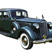 Classic Green Packard Luxury Automobile Poster