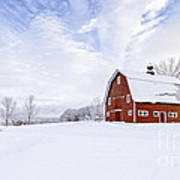 Classic New England Red Barn In Winter Poster