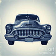 Classic Old Car On Vintage Background Poster