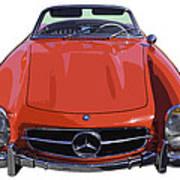 Classic Red Mercedes Benz 300 Sl Convertible Sportscar  Poster