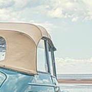 Classic Vintage Morris Minor 1000 Convertible At The Beach Poster