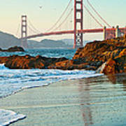 Classic - World Famous Golden Gate Bridge With A Scenic Beach And Birds. Poster