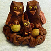Clay Owl Family Poster