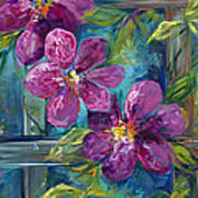 Clematis Turquoise Garden Poster