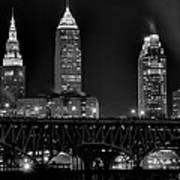 Cleveland Black And White Night Poster