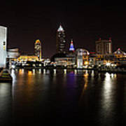 Cleveland Lakefront Nightscape Poster