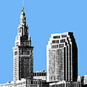 Cleveland Skyline 1 - Light Blue Poster by DB Artist