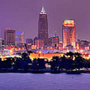 Cleveland Skyline At Night Evening Panorama Poster