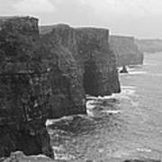 Cliff Of Moher Ireland Bw Poster