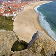 Cliff Of The Seaside Village Of Nazare Poster