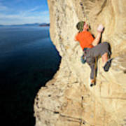 Climber Reaches For Hand Hold Poster