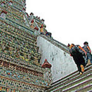 Climbing Many Steps At Temple Of The Dawn-wat Arun In Bangkok-th Poster