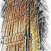 Clock Tower At Night Poster