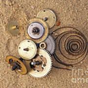 Clockwork Mechanism On The Sand Poster