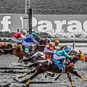 Close Finish At Turf Paradise Poster