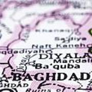 close up of Baghdad on map-Iraq Poster