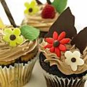 Close-up Of Three Chocolate Cupcakes Poster