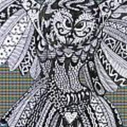 Close Up Owl Tartan Poster