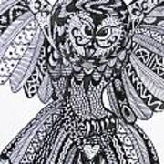 Close Up Owl White Poster