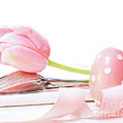 Closeup Of Tulip And Utensils On Pale Pink Poster