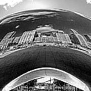 Cloud Gate Under The Bean Black And White Poster