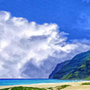 Clouds At Polihale Poster