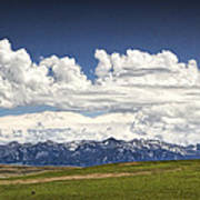 Clouds Over A Mountain Range In Montana Poster