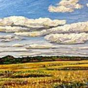Clouds Over Marsh In Wells Maine Poster