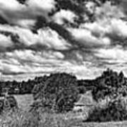 Cloudy Countryside Collage - Black And White Poster