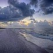 Cloudy Sunrise Over Orange Beach Poster