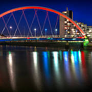 Clyde Arc Glasgow At Night Poster