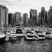 coal harbour marina and high rise apartment condo blocks in the west end Vancouver BC Canada Poster