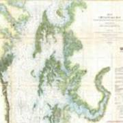 Coast Survey Chart Or Map Of The Chesapeake Bay Poster