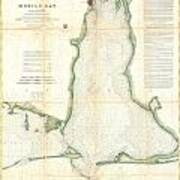 Coast Survey Map Of Mobile Bay Alabama Poster